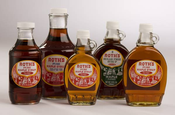 Bottles of Various Kinds of Roth's Pure Maple Syrup