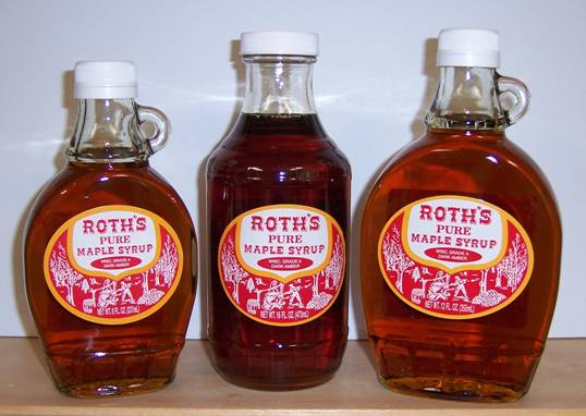 Bottle of Roth's Pure Maple Syrup